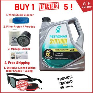 [BUY 1 FREE 5] Petronas Engine Oil Syntium 800 Semi Synthetic 10W-40 [4 Litres] Free Gift [Windshield Cleaner,Mileage Sticker,Oil Filter, Shipping, PETRONAS RIDER SHADE]